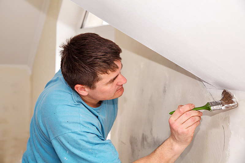 Man painting interior wall